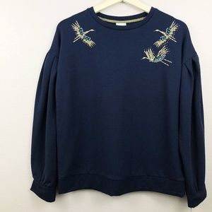 a.new.day. Beaded Crane Crewneck Puff Sweater NWT